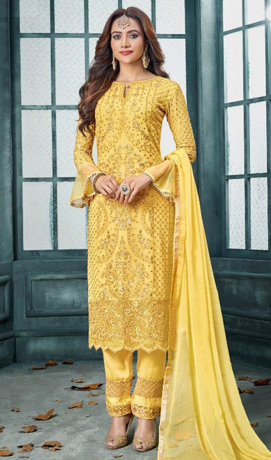 Faux Georgette Embroidered Pant Style Suit in Yellow Color