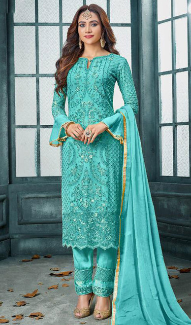Faux Georgette Embroidered Pant Style Suit in Sky Blue Color