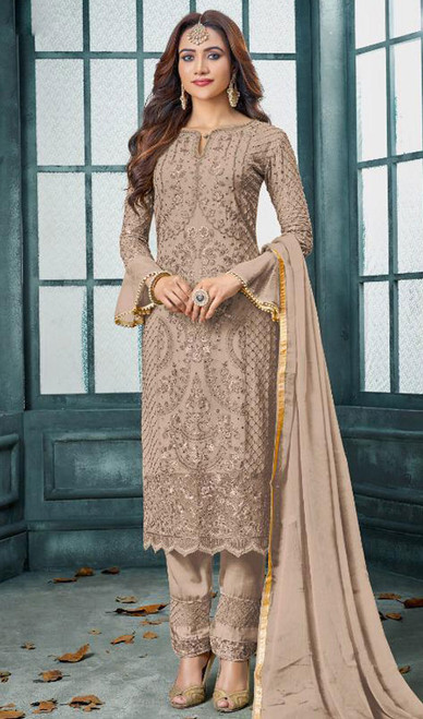 Faux Georgette Embroidered Pant Style Suit in Light Brown Color