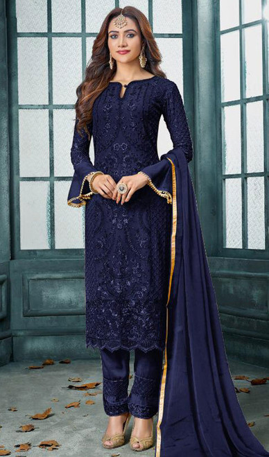 Faux Georgette Embroidered Pant Style Suit in Navy Blue Color