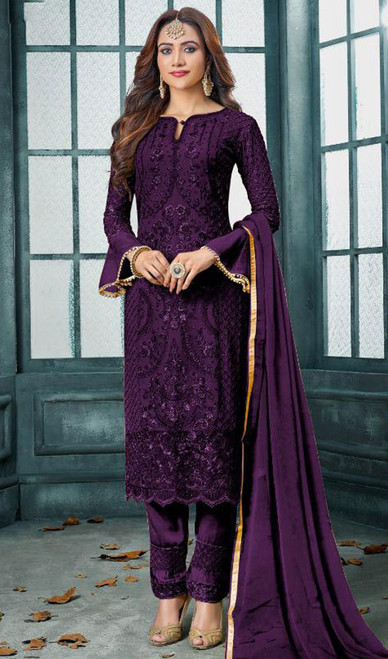 Faux Georgette Embroidered Pant Style Suit in Dark Purple Color