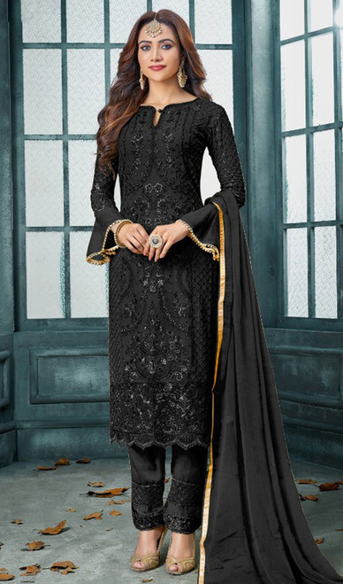 Faux Georgette Embroidered Pant Style Suit in Black Color