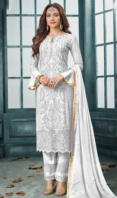 Faux Georgette Embroidered Pant Style Suit in White Color