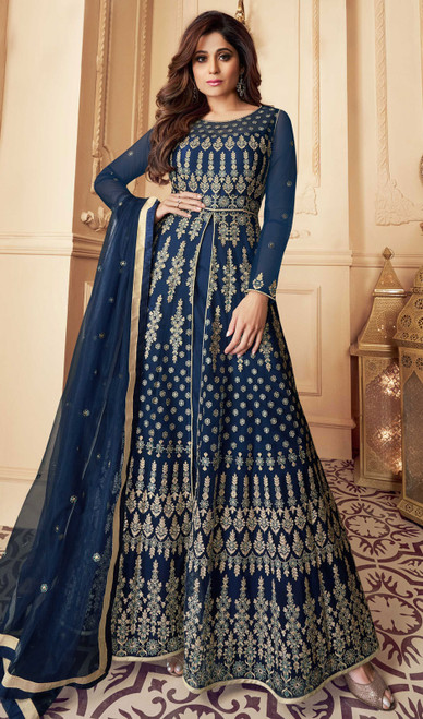 Butterfly Net Embroidered Aanarkali Suit in Navy Blue Color