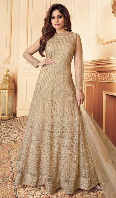 Butterfly Net Embroidered Aanarkali Suit in Beige Color