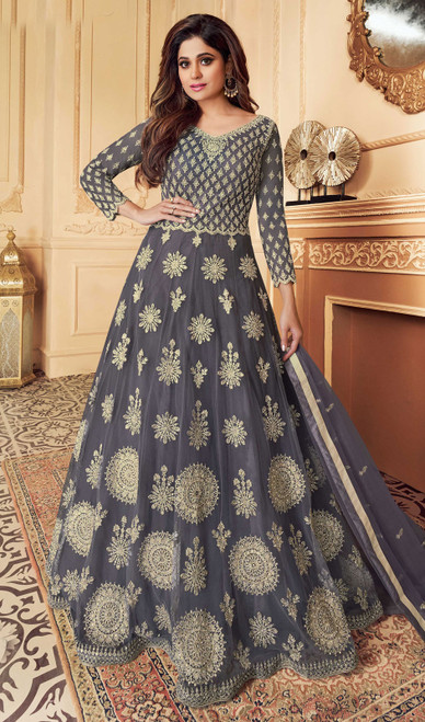 Butterfly Net Embroidered Aanarkali Suit in Gray Color