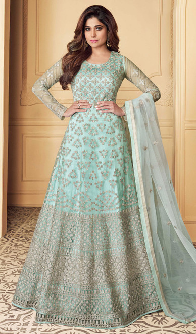 Butterfly Net Embroidered Aanarkali Suit in Aqua Color