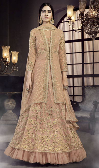 Light Peach Color Net Embroidered Lehenga Suit