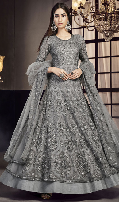 Gray Color Net Embroidered Anarkali Suit
