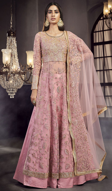 Baby Pink Color Net Embroidered Lehenga Suit