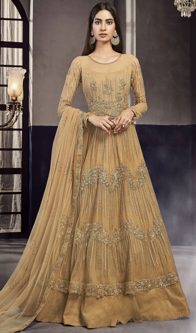 Occur Yellow Color Net and Silk Embroidered Anarkali Suit