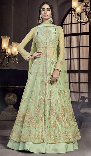Light Green Color Satin Embroidered Lehenga Suit