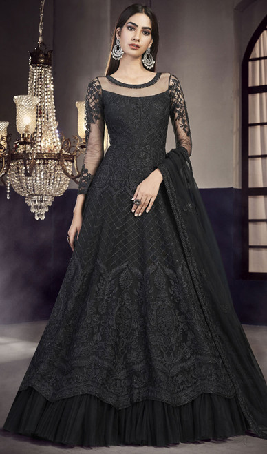 Black Color Net Embroidered Anarkali Suit