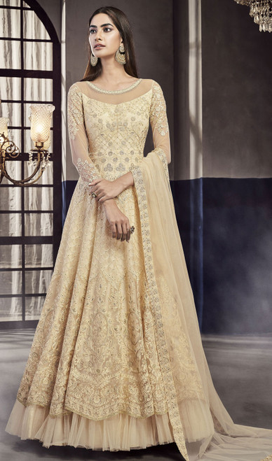 Cream Color Net Embroidered Anarkali Suit
