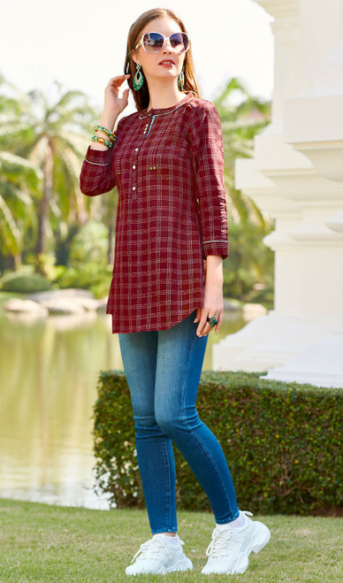 Maroon Color South Cotton Printed Tunic Top