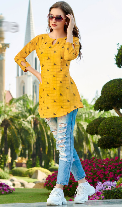 Yellow Color South Cotton Printed Tunic Top