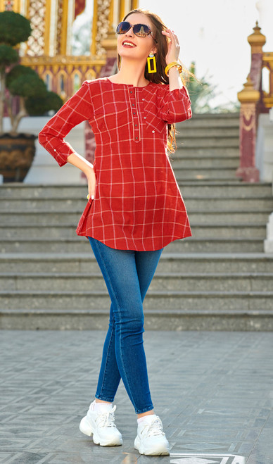 Red Color South Cotton Printed Tunic Top