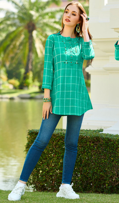 Green Color South Cotton Printed Tunic Top