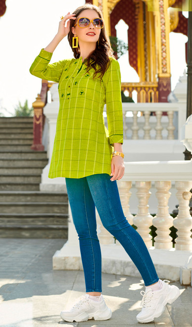 Light Green Color South Cotton Printed Tunic Top