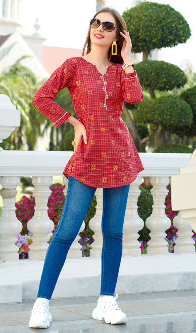 South Cotton Printed Tunic Top in Red Color