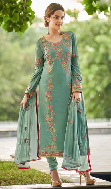 Faux Georgette Embroidered Churidar Suit in Grayish Green Color