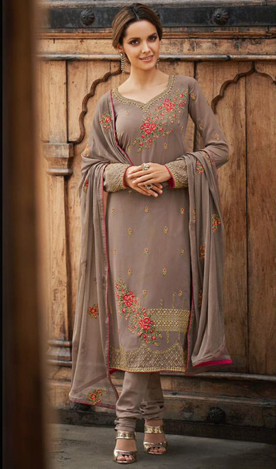 Faux Georgette Embroidered Churidar Suit in Light Brown Color