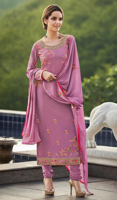 Faux Georgette Embroidered Churidar Suit in Light Purple Color