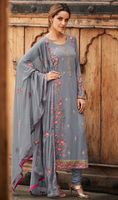 Faux Georgette Embroidered Churidar Suit in Gray Color