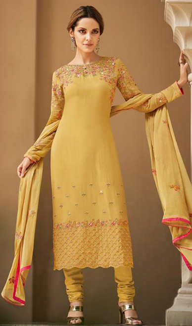 Faux Georgette Embroidered Churidar Suit in Yellow Color