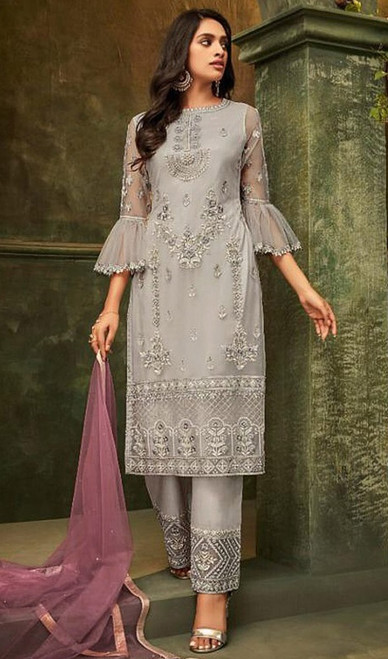 Butterfly Net Embroidered Pant Style Suit in Light Gray Color