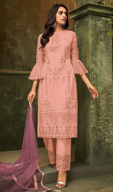 Butterfly Net Embroidered Pant Style Suit in Baby Pink Color
