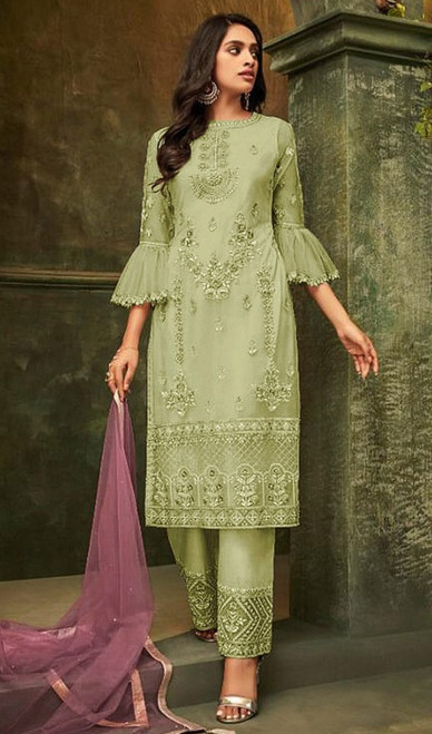 Butterfly Net Embroidered Pant Style Suit in Light Green Color