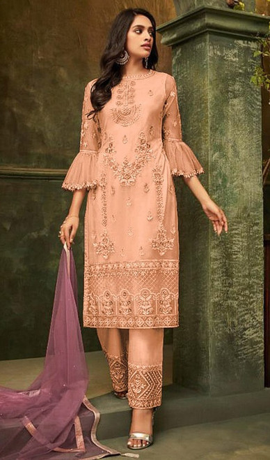 Butterfly Net Embroidered Pant Style Suit in Light Orange Color