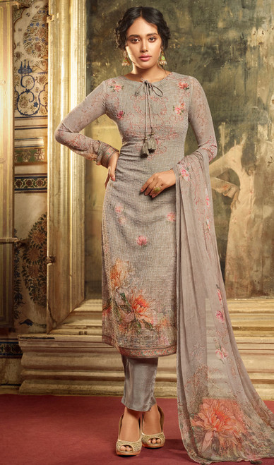 Georgette Printed With Embroidered Pant Style Suit in Gray Color