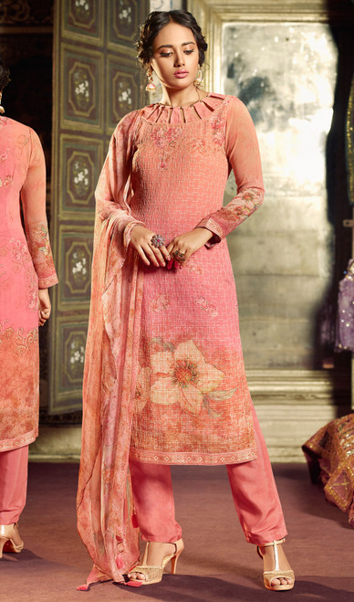 Georgette Printed With Embroidered Pant Style Suit in Coral Pink Color