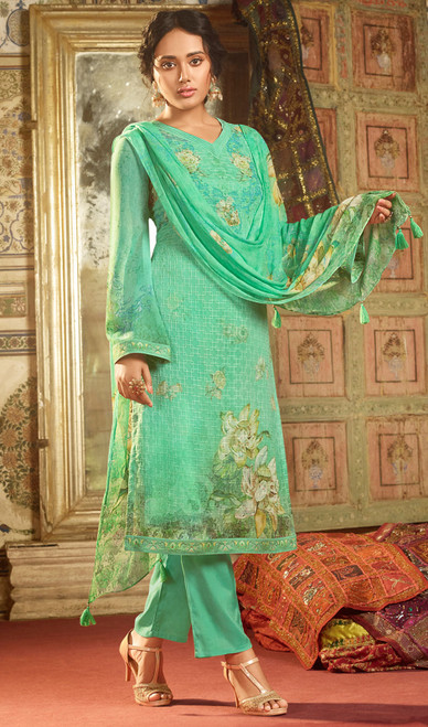 Georgette Printed With Embroidered Pant Style Suit in Sea Green Color