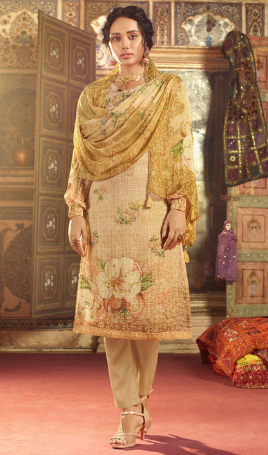 Georgette Printed With Embroidered Pant Style Suit in Light Cream Color