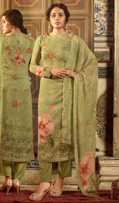 Georgette Printed With Embroidered Pant Style Suit in Olive Green Color