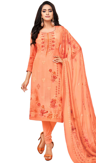 Viscose Printed With Embroidered Churidar Suit in Orange Color