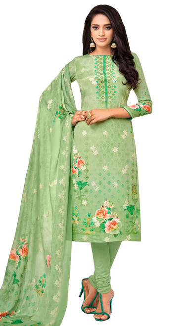 Viscose Printed With Embroidered Churidar Suit in Parrot Green Color