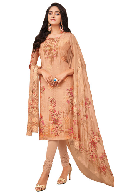 Viscose Printed With Embroidered Churidar Suit in Beige Color