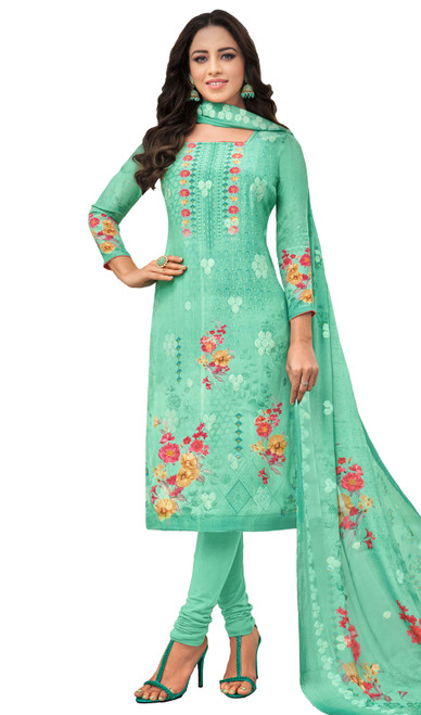 Viscose Printed With Embroidered Churidar Suit in Sea Green Color