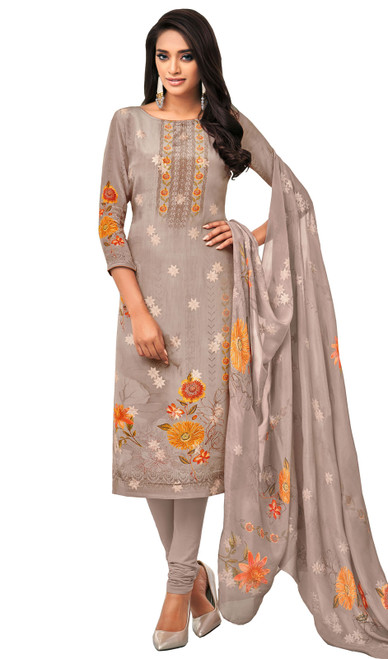 Viscose Printed With Embroidered Churidar Suit in Gray Color