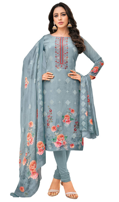 Viscose Printed With Embroidered Churidar Suit in Light Grayish Blue Color
