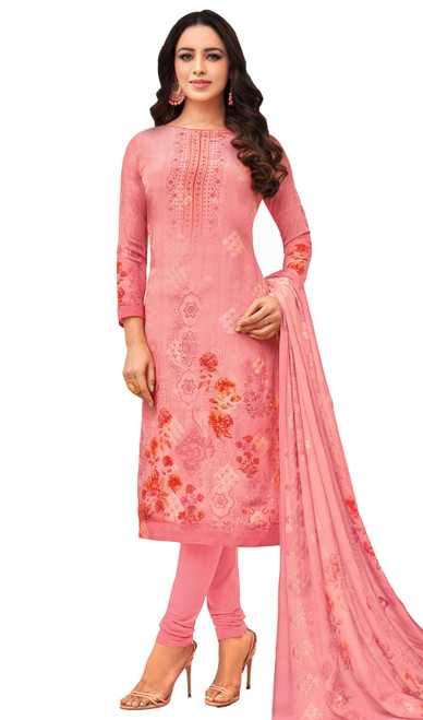 Viscose Printed With Embroidered Churidar Suit in Pink Color