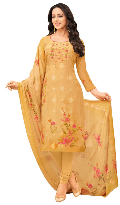 Viscose Printed With Embroidered Churidar Suit in Yellow Color