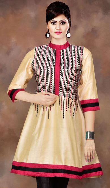 Cream Shade Cotton Silk Flared Tunic