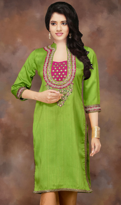 Parrot Green Silk Embellished Readymade Party Kurti