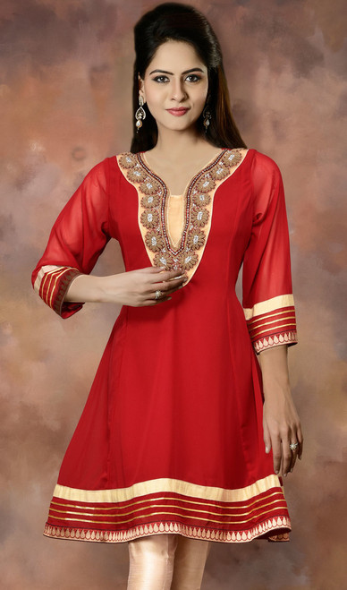 Red Georgette Zardosi Embellished Flared Tunic