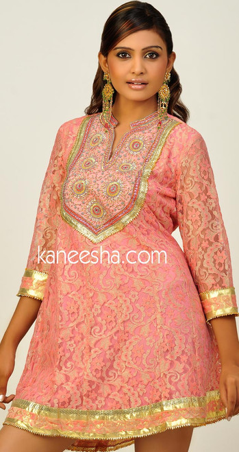 Delicate Lace Pink Jardozi Embroidered Tunic Top - 25% price reduction